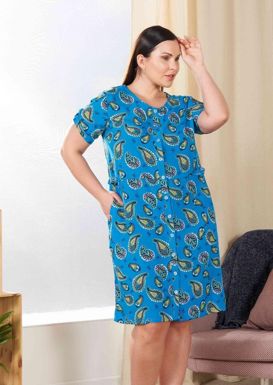 Жіночий халат на гудзиках великих розмірів Cocoon 40274