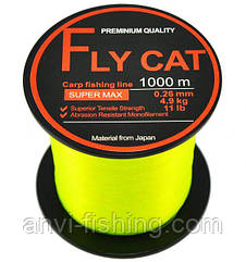 Леска карповая NTEC Fly Cat Fluro Yellow 1000m 0,26mm (4,9kg 11lb)