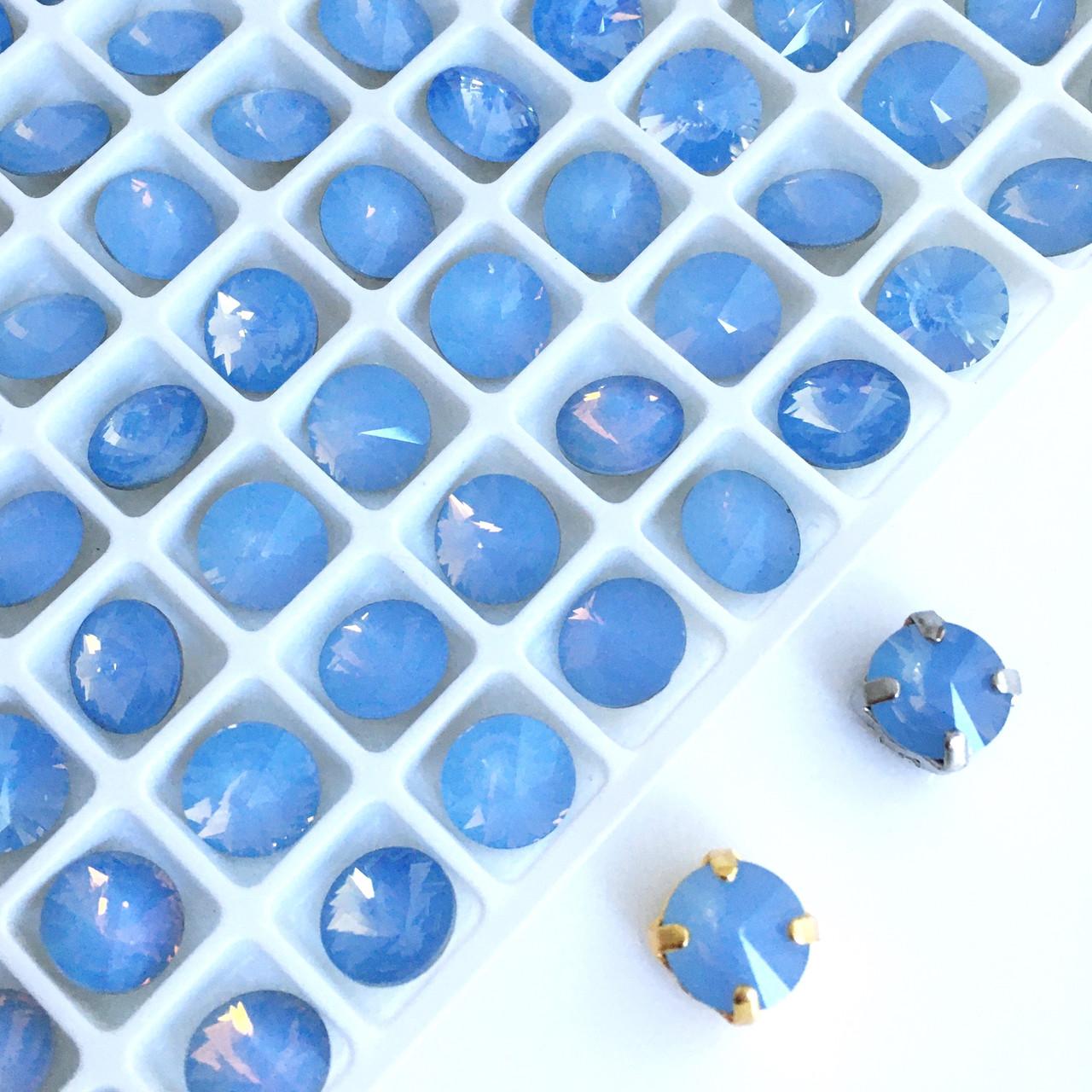 Круглые 8 мм. Голубой опал. Кристаллы стекло.