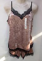 Комплект для сна (шортики+майка) с кружевом бархатный женский (ПОШТУЧНО), фото 1