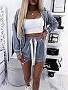 Костюм женский тройка худи топ и шорты с высокой посадкой в стиле спорт шик, фото 8