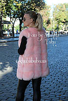 Женская розовая жилетка безрукавка Эко Мех 76 см