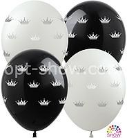 """Воздушные шарики Короны серебряные (4 ст) 12"""" (30 см)"""
