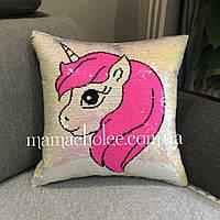 Декоративная антистресс подушка Единорог Розовый с паетками