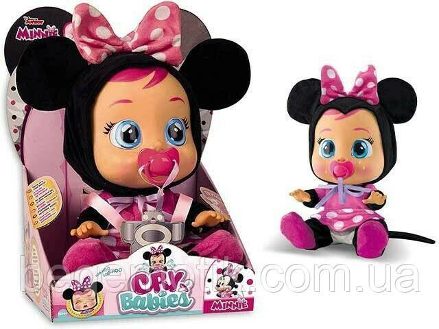 Интерактивная Кукла плакса IMC Toys Cry Babies Minnie Mouse Baby Doll Пупс Плачущий младенец Минни Маус