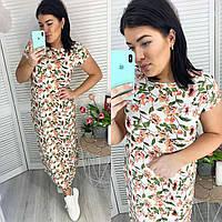 Женское длинное летнее платье из лен-коттона . От производителя .