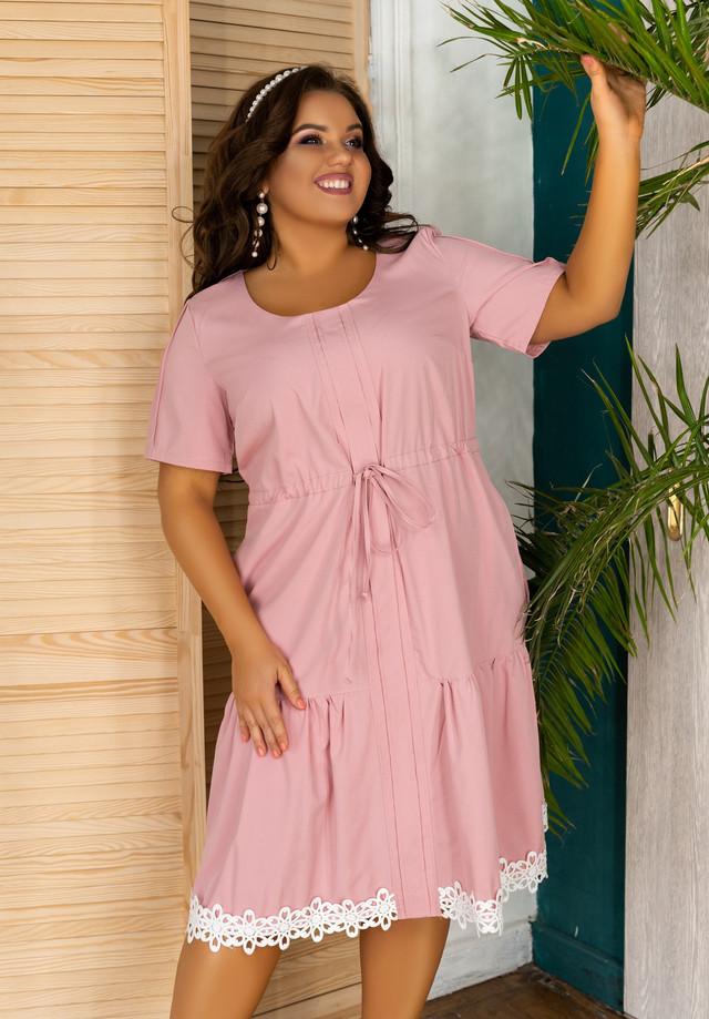 Платье свободного кроя с кружевом