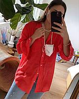 Жіноча лляна класична сорочка. Чудово під брюки, джинси. Р. 42-74+ плассайз, фото 1