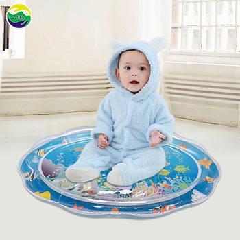 """Надувной детский развивающий коврик """"Подводный мир"""" с мягким водяным дном, игровой напольный коврик для детей"""