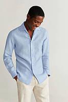 Голубая, сиреневая, синяя рубашка из натурального льна для настоящего героя. XS-10XL, фото 1