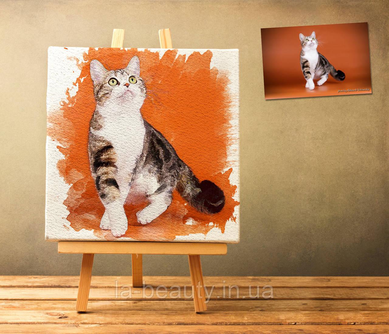 Дизайн и печать картин по Вашим фотографиям 50х50 см в акварельном стиле на холсте
