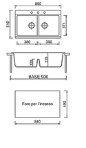 Кухонная мойка на две чаши гранитная (850х510х230 мм) Adamant SIMILAR (авена), фото 3