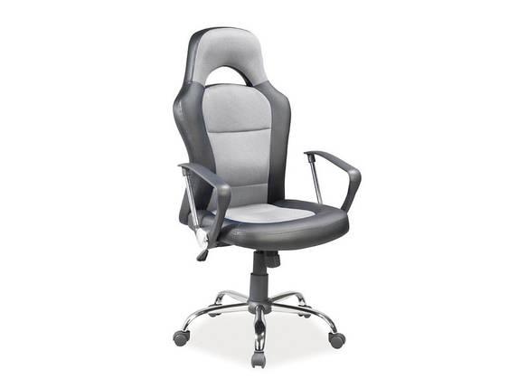 Офисное кожаное кресло серое Q-033, фото 2