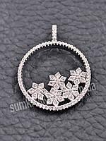 Кулон подвеска в белом металле с камнями,,Снежная королева,,