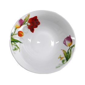 "Круглая фарфоровая салатница с цветами 900 мл ""Тюльпан"""
