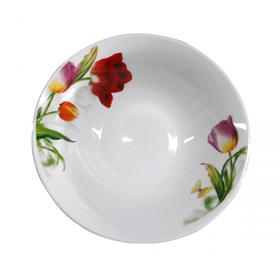 """Салатник фарфоровый белый с цветами 600 мл """"Тюльпан"""""""
