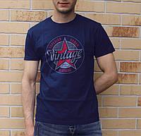 Мужская футболка с натуральным хлопком VINTAGE. Стильна чоловіча футболка 100% бавовна