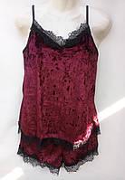 Комплект для сну (шорти+футболка) з мереживом оксамитовий жіночий (ПОШТУЧНО), фото 1