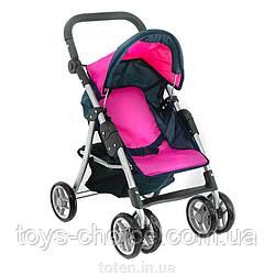 Детская коляска для кукол  9352-Hot Pink розовая с темно-синим, летняя, регулир ручка и спинка PS