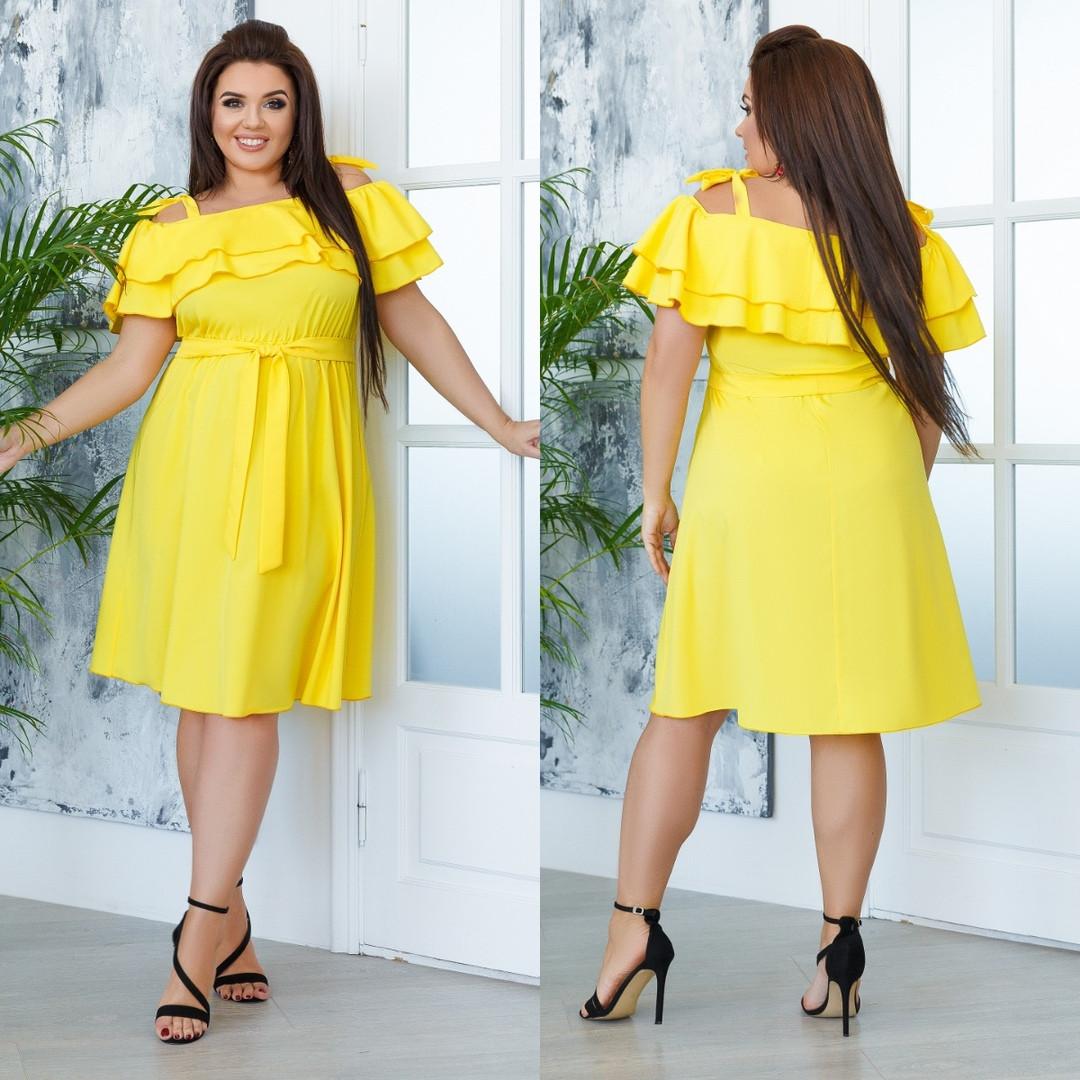 Яркое стильное женское летнее платье с поясом софт 42-4444-4648-5052-5456-58 чёрныйжёлтыйрозовыймалина