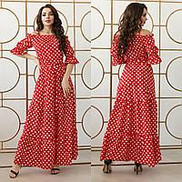 Яркое женское летнее платье на бретелях в горох софт 42-4444-4648-5052-5456-58 марсала красный чёрный хаки