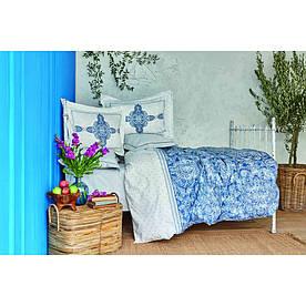 Постельное белье Karaca Home ранфорс - Perissa mavi 2020-2 голубой евро