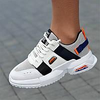 Женские кроссовки летние весенние белые модные  ( код 9162 ), фото 1