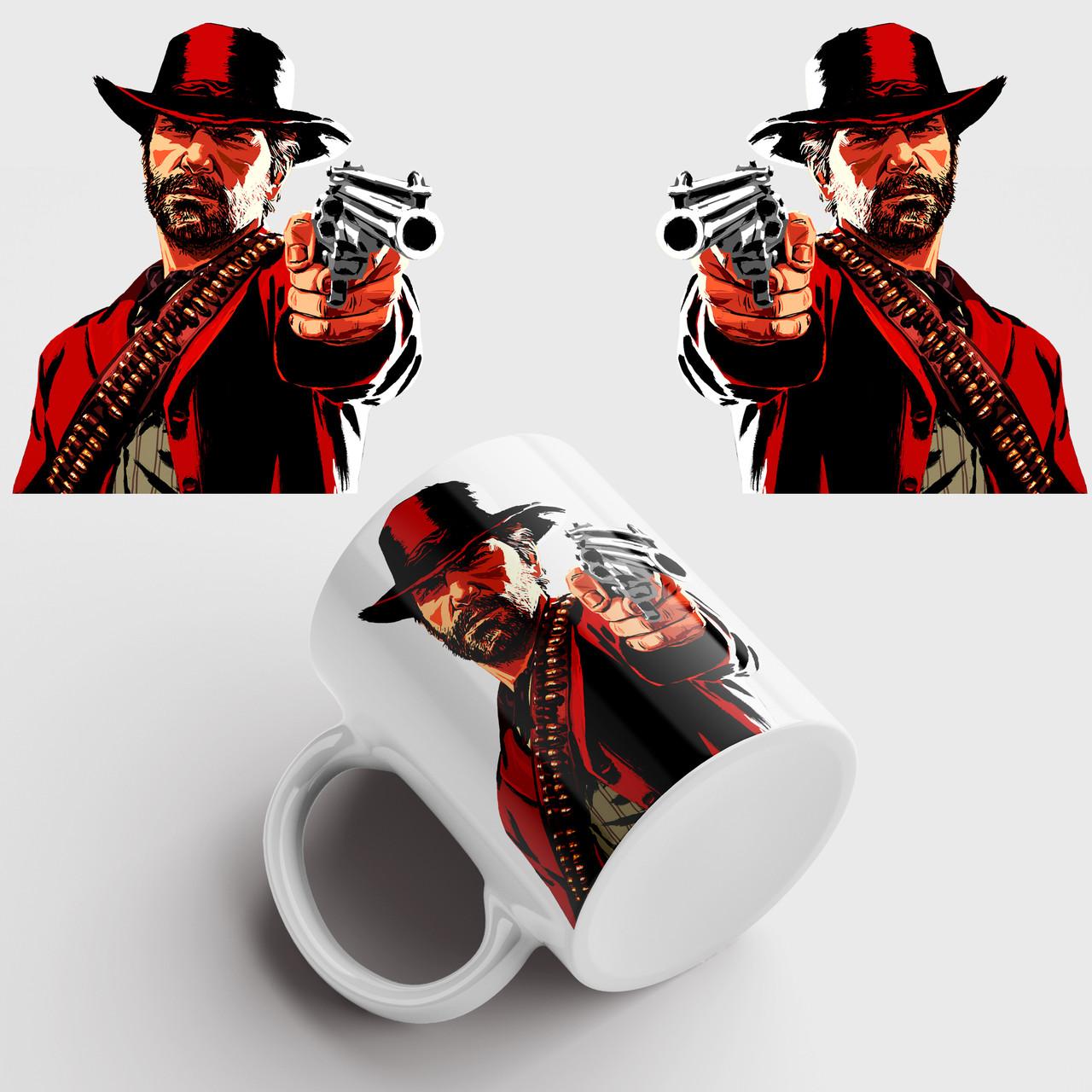 Кружка с принтом Red Dead Redemption 2. Чашка с фото