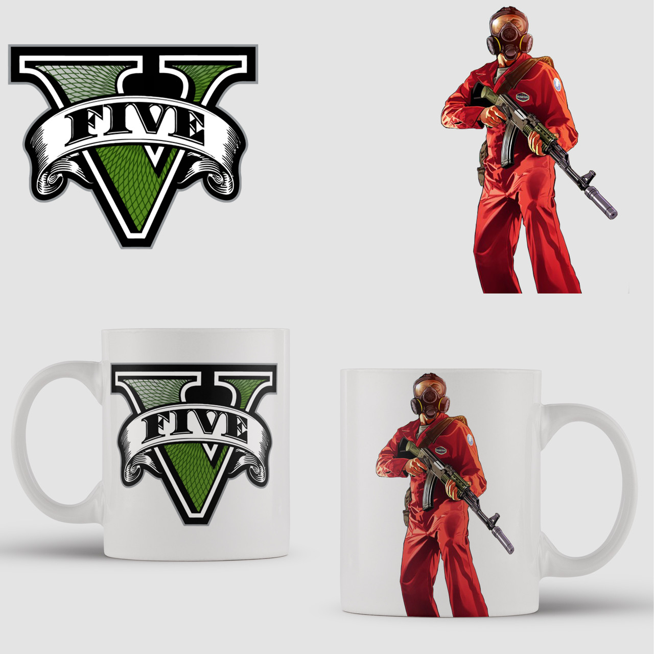 Кружка с принтом GTA V. ГТА 5. Чашка с фото