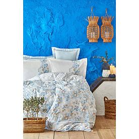 Постельное белье Karaca Home ранфорс - Charlina mavi 2020-2 голубой евро