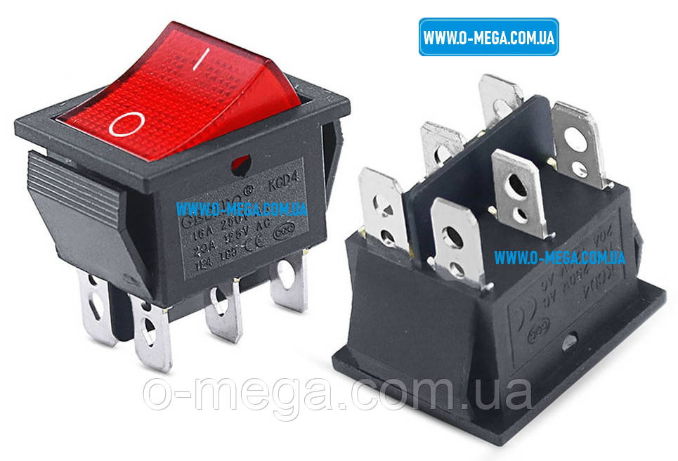 Кнопочный выключатель, клавиша широкая, с красной подсветкой с фиксацией 29,0 * 22,0 мм