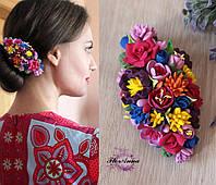 """Заколка для волос с цветами из полимерной глины """"Яркий контраст"""", фото 1"""