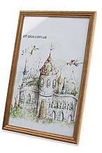 Рамка 40х40 из дерева - Дуб светлый 1,5 см - со стеклом