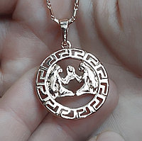 Кулон знак зодиака Близнецы унисекс Греческий стиль медзолото бренд Xuping - подарок мужчине, девушке и себе