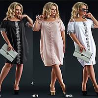 Стильное женское летнее легкое платье коттон 48-50 52-54 56-58 60-62 пудра белый чёрный тёмно-синий