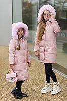 Модная зимняя подростковая куртка пальто для девочки 8 9 10 11 12 13 14 лет розовая черная серебро фольга