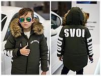 Модная зимняя подростковая куртка 8 9 10 11 12 13 14 лет оранжевая черная хаки для мальчика девочки