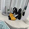 """Босоножки на каблуке """"Arina"""" черные с желтым эко кожа+эко замш//В НАЛИЧИИ ТОЛЬКО 39р, фото 5"""