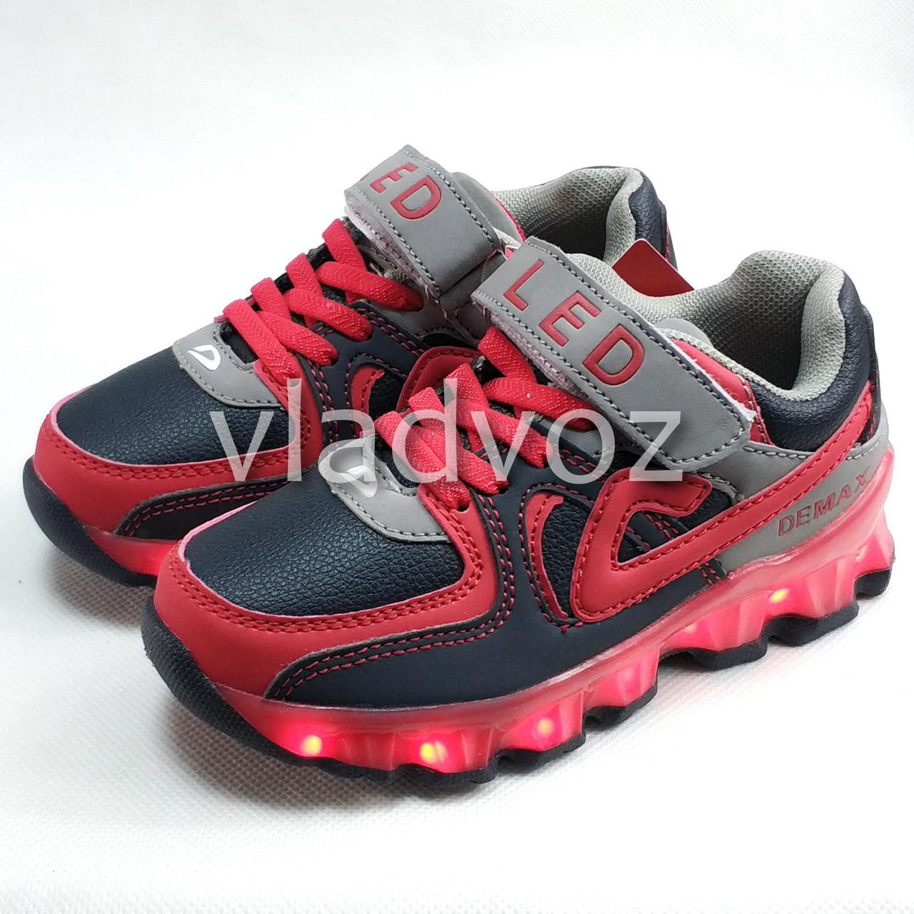 Детские светящиеся кроссовки с led подсветкой подошва USB красный 29р 18,5см