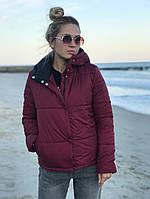 Женская осенняя весенняя куртка с капюшоном 42 44 46 48 50 52 54 черная розовая мятная хаки бордо