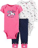 Набор одежды тройка для девочки Carters Единороги (боди и штанишки) 9 мес., фото 1