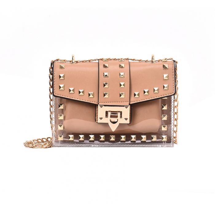 Прозрачная силиконовая сумочка с заклепками с клатчем из кожзама