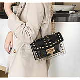 Прозрачная силиконовая сумочка с заклепками с клатчем из кожзама, фото 3