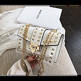 Прозрачная силиконовая сумочка с заклепками с клатчем из кожзама, фото 4