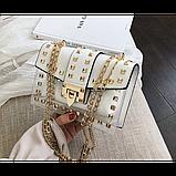 Прозрачная силиконовая сумочка с заклепками с клатчем из кожзама, фото 5