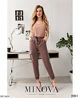 Модные женские брюки джоггеры с высокой посадкой арт 3022