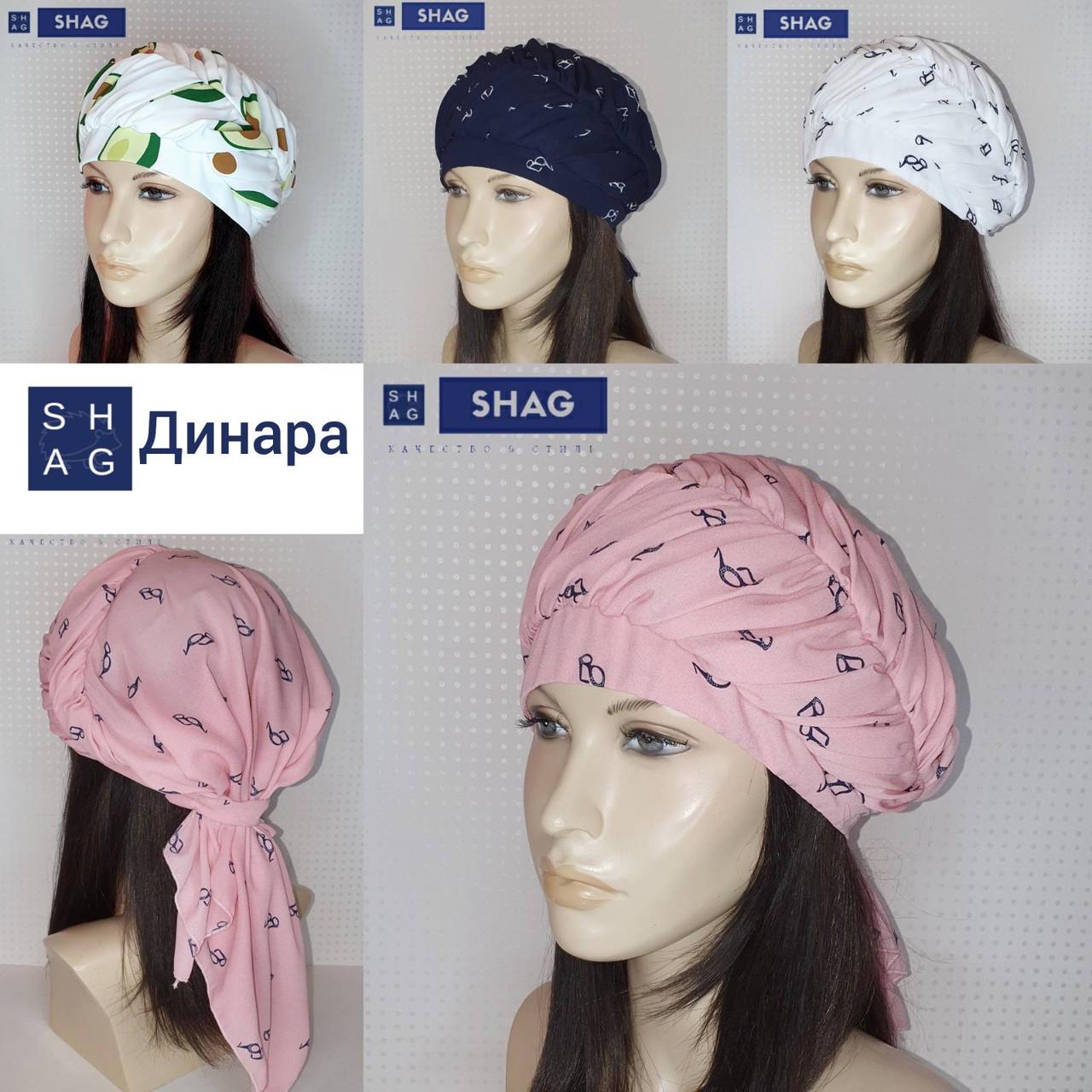 Бандана-шапка-косынка хлопковая с объёмной драпировкой цвет розовый