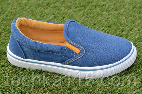 Детские джинсовые слипоны мокасины кеды синие р32-37