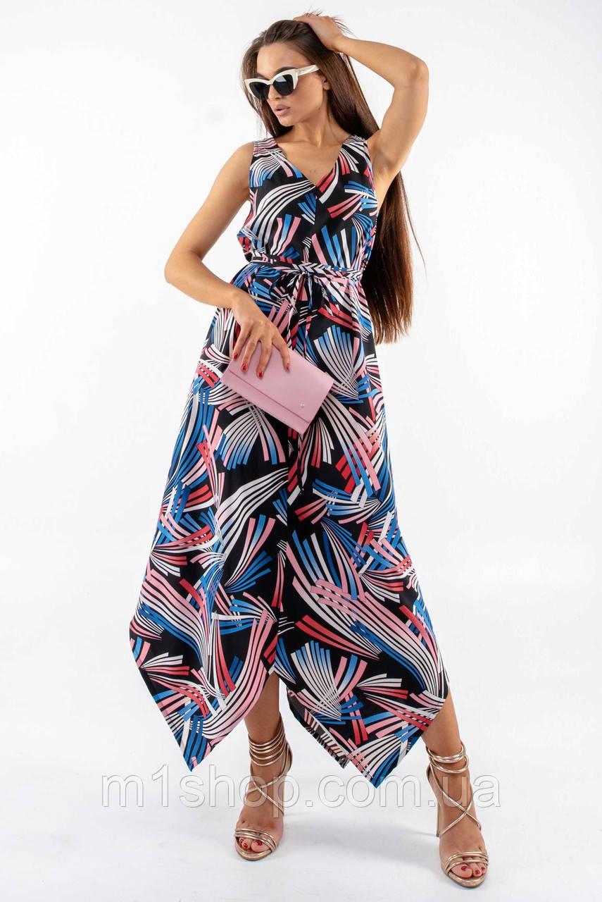 Повседневный свободный длинный женский сарафан с асимметричным низом (Дороти ri)