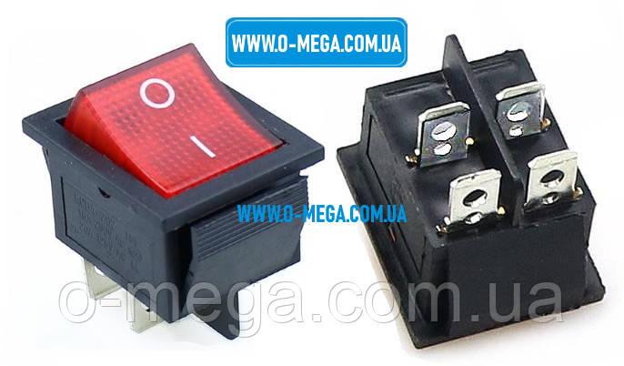 Кнопочный выключатель, Клавиша широкая, с подсветкой, 4 контакта с фиксацией 29,0 * 22,0 мм. 15A